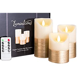 "LUMINICIOUS™ FLAMELESS CANDLES | FLICKERING LED FLAME. Electric battery operated, remote control & timer | Real Wax Pillar Ivory with Gold trim | candles set of 3 (3""x4""/5""/6"") PERFECT GIFT IDEA"