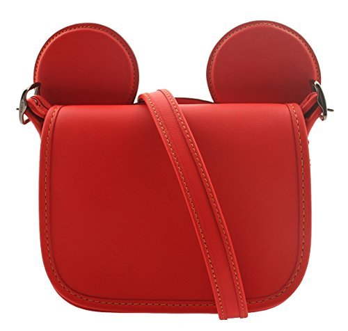 COACH MICKEY Patricia Saddle in Glove Calf Leather with Mickey Ears Bright Red by Coach