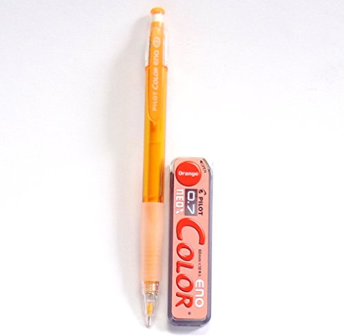 Pencil Pilot Colored - Pilot Color Eno Orange Set, 0.7mm Mechanical Pencil + Mechanical Pencil Lead 0.7mm, Orange, 10 Leads(Japan Import) [Komainu-Dou Original Package]