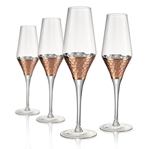 Artland Coppertino Hammer Flutes, Set of 4, 8 oz, Clear (Copper Champagne Flutes)