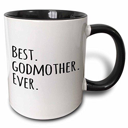 3dRose mug_151526_4 Best Godmother Ever Gifts for God Mothers or God Mom Godparents Black Text Two Tone Black Mug, 11 oz, Black/White