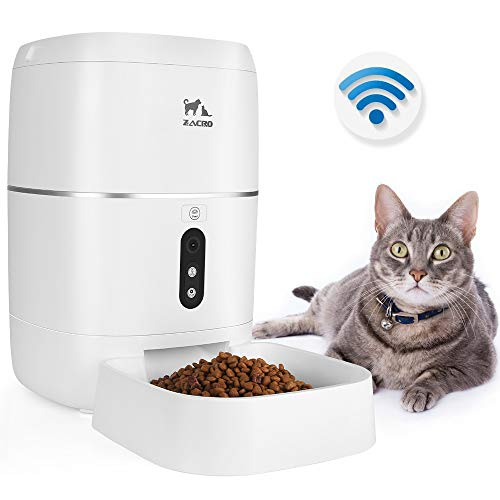 Zacro 6L Automatic Cat Dog Feeder – WiFi Automatic Pet Smart Feeder Food Dispenser, 1080P HD WiFi Pet Camera with Night Vision and 2-Way Audio Communication, Wi-Fi Enabled App for iOS/Android