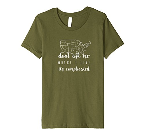 Kids Funny Fulltime RVing Shirt: Where I Live? It's Complicated 12 Olive