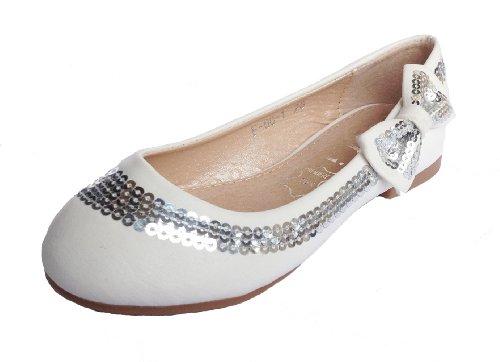 100161 Wunderschöne Mädchen Ballerinas mit Schleife & Pailetten, Weiß