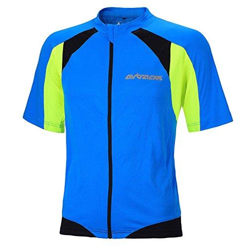 Maglia Blau traspirante Airtracks a ciclismo zip Pro intera Maglia neon Jersey da ciclismo Funktions manica corta da Maglia 5BBHZgq