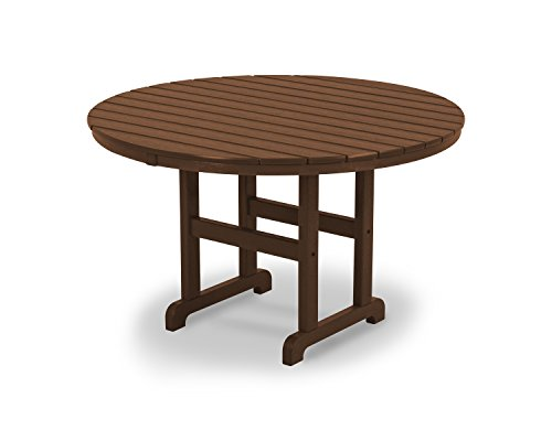 POLYWOOD RT248TE Round Dining Table, 48-Inch, Teak