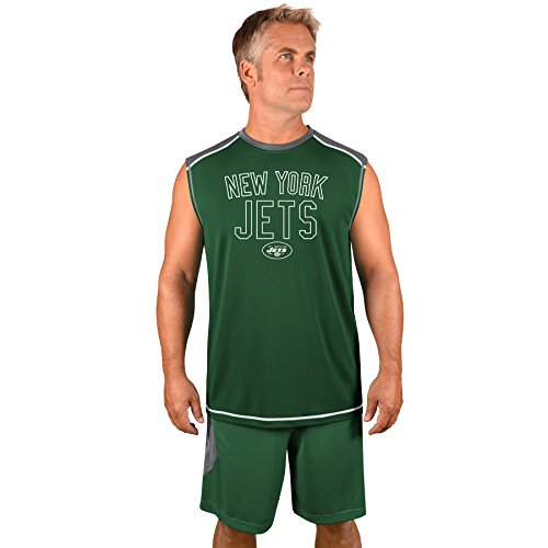Profile Big & Tall NFL New York Jets Adult Men NFL Plus S/Synthetic Muscle,3XT,Storm Grey/Dk ()