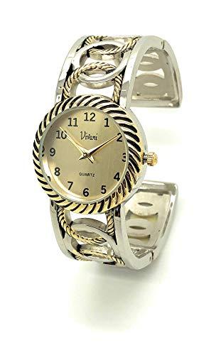 (Ladies Elegant Round Metal Bangle Cuff Fashion Watch (Two Tone))