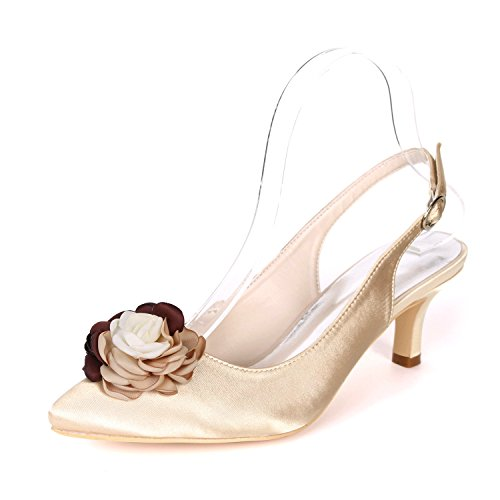 20H Flower EU40 Robe Escarpins Heels Cour 1608 Ager UK7 Champagne Slingback Mid Chaussures Femmes Chaussures rrxETq16w