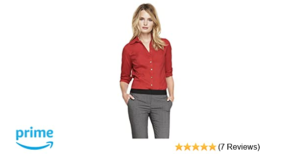 a647dce8526a Express Women's The Original Long Sleeve Essential Shirt, Mars Red 297, XS  at Amazon Women's Clothing store: