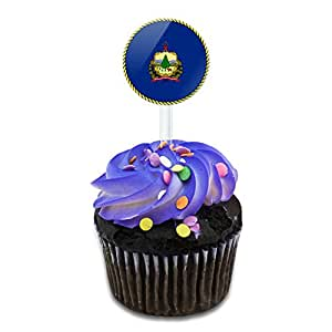 Vermont State Flag Cake Cupcake Toppers Picks Set