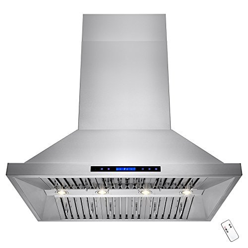 AKDY 48' Stainless Steel Dual Motor Island Mount Range Hood Touch Screen Display Baffle Filter Vent