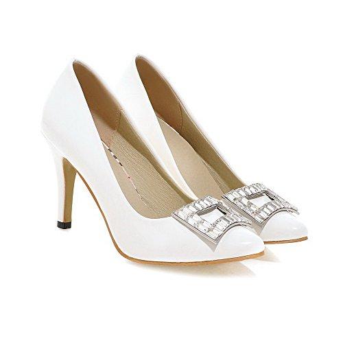 AllhqFashion Damen Hoher Absatz Eingelegt Ziehen auf Lackleder Spitz Zehe Pumps Schuhe Weiß