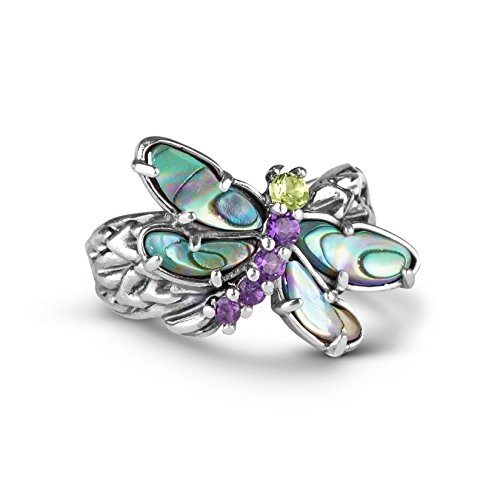 - Carolyn Pollack Sterling Silver Abalone, Purple Amethyst and Green Peridot Gemstone Dragonfly Ring Size 10