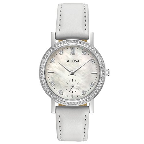 - Bulova Women's 96L245 Swarovski Crystal White Strap Watch