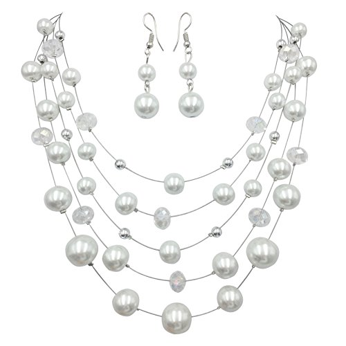 ow Beaded Illusion Wire Lightweight Necklace and Dangle Earring Set (White Simulated Pearl & Glass) (Lightweight White Gold Necklace)
