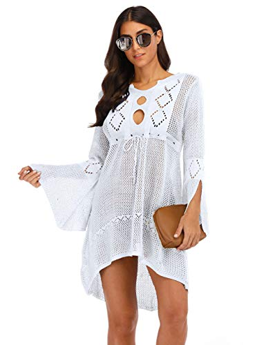 (shermie Womens Bathing Suit Cover Up Long Sleeves Beach Coverup Dress (White,M))