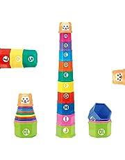 Cubos Bebe Apilables- Apila Colores Cubo Playa Juguetes de Baño Bloques Construccion Bebe Taza de Apilamiento Juguete con 10 Cubos de Colores y 1 Cascabel para Niños a Partir de 6 Meses