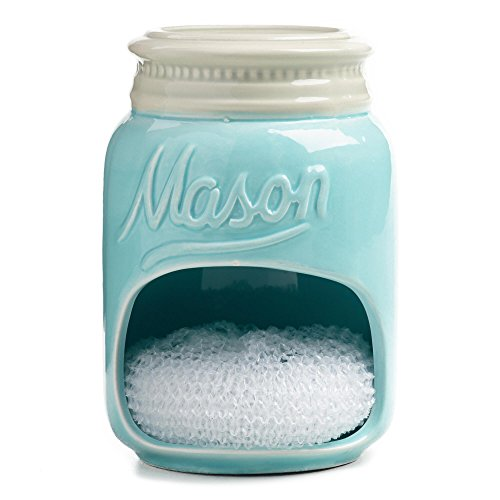 Blue Mason Jar Ceramic Sponge Holder with Sponge by World Market (Vintage Blue Mason Jar)
