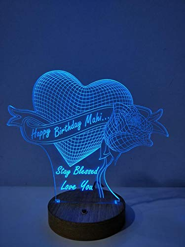 DESIGN ELLE 3D Illusion Personalised Multi with Remote, Heart Rose Lamp