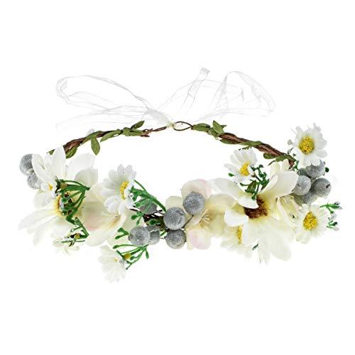 DDazzling Green Leaf Floral Crown Eucalyptus Flower Women Girls Headband Flower Headpiece Bridal Halo Photo Prop (#Berry Ivory Daisy)