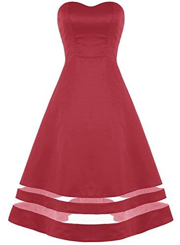 Rojo Corto Ocscuro Corazón Escote Danza Vestido Bbonlinedress Satén Fiesta gwvwqO