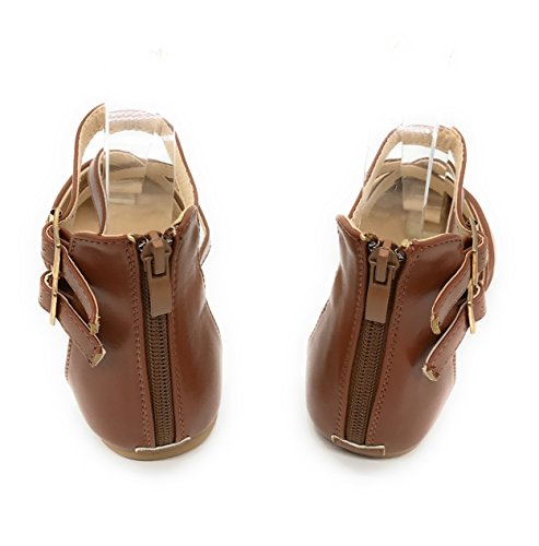 Blaue Berry EASY21 Frauen Casual Flats Ballett Knöchelriemen Mode Schuhe Brown24