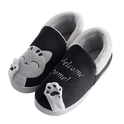 Cotone Sunnywill Men Antiscivolo Uomini 5 Pantofole Pattini Home Inverno Per Scarpe nero Caldo Morbido Peluche Casa Donne fBFABXqwg