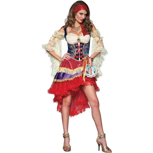 InCharacter Costumes Good Fortune Gypsy Costume, Red/Tan/Blue, Small -