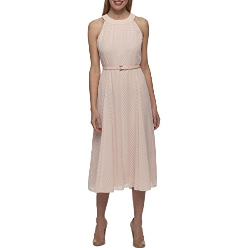 Tommy Hilfiger Women's Coin Toss Chiffon Long Dress, Powder, 14 (Dress Powder)