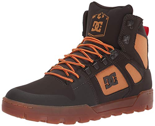 DC Men's Pure HIGH-TOP WR Boot Skate Shoe, Chocolate Brown, 10 Medium US ()