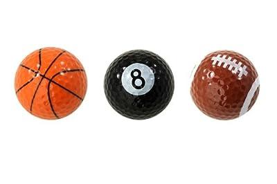 Assorted Designed Golf Balls (Basketball, Football, 8-Ball) - 3 balls in a box