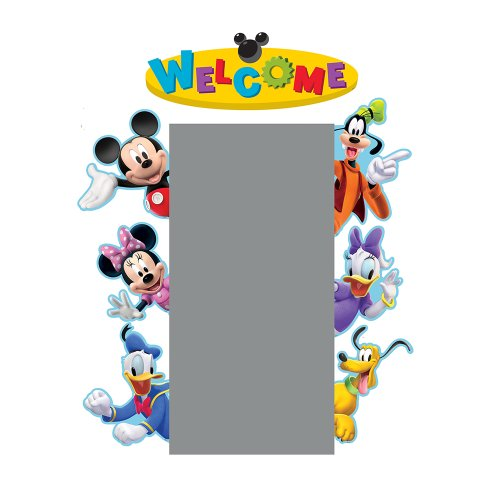 Mickey Mouse Cardboard Cutout (Eureka Back to School Mickey Mouse Clubhouse 'Welcome' Door and Window Go-Around Classroom Decorations for Teachers, 2pc, 17'' W x 24'')