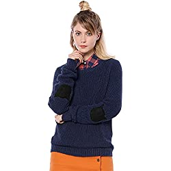 Allegra K Women's Drop Shoulder Elbow Cat Patch Loose Sweater S Blue