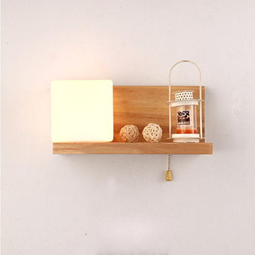 AMBERLIGHT Modern Wood Shelf Wall Sconces Lights Fixtures Milk White Glass Square Wall Lamps