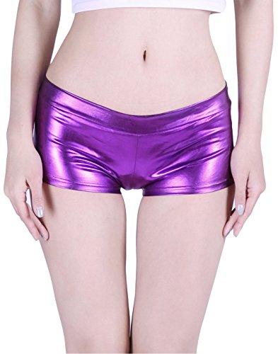 HDE Women's Shiny Metallic Booty Shorts Liquid Wet Look Hot Pants Dance Bottoms -