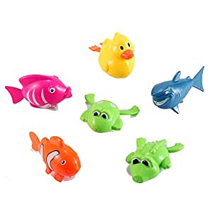 Set of 6 wind up sea animal water toys for for Little fish toys