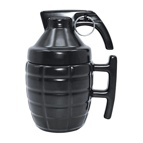 Sxmoveon Ceramic Grenade Mug Creative Coffee Cup, 280ml, Black (Orange And Black Halloween Colors Meaning)