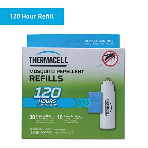 Thermacell Mosquito Repellent Refills, 120-Hr Pack; Contains 30 Repellent Mats, 10 Fuel Cartridges; Compatible with Any Fuel-Powered Product; No Spray, Scent, Mess; 15 Ft Zone of Protection ()
