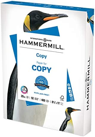 Hammermill Printer Paper, 20 lb Copy Paper, 8.5 x 11 - 1 Small Pack (400 Sheets) - 92 Bright, Made in the US