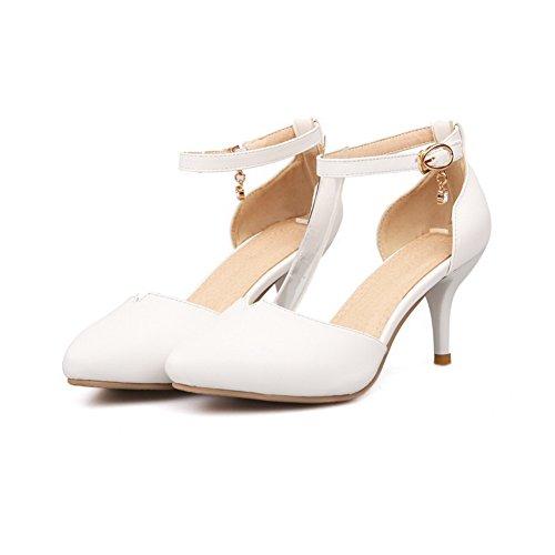 Amoonyfashion Damesschoenen Met Gesloten Punt Midden Van De Hiel Zacht Materiaal Pu Stevige Sandalen Met Metalen Gespen Wit
