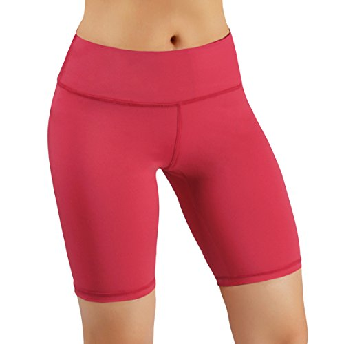 ODODOS Power Flex Women's Tummy Control Workout Running Shorts Pants Yoga Shorts With Hidden Pocket, Coral, X-Large