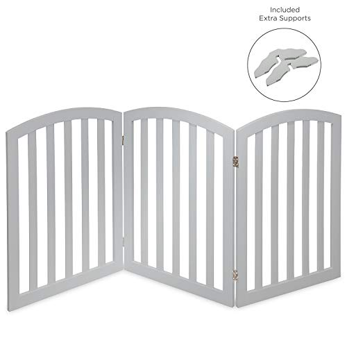 Arf Pets Free Standing Wood Dog Gate, Expands Up to 74