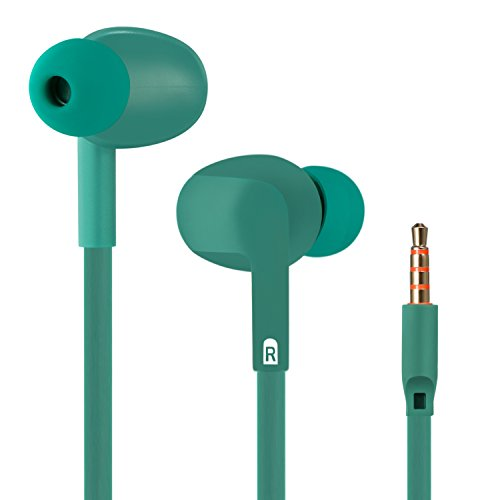 Welmor In-Ear Headphones, Wired Earbuds Headphones,Heavy Bass Earphones,Stereo Awareness Monitor Headsets with Microphone and Remote (Teal Green)