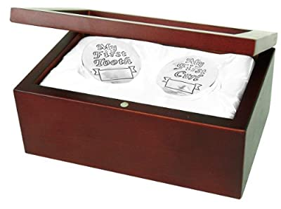 Stephan Baby Satin-Lined Rosewood Keepsake Box with Silver Plated First Tooth and First Curl Boxes by Stephan Baby