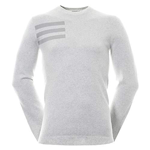 adidas Golf 2018 Mens 3-Stripes Blend Crewneck Golf Sweater Grey Onix Heather XL
