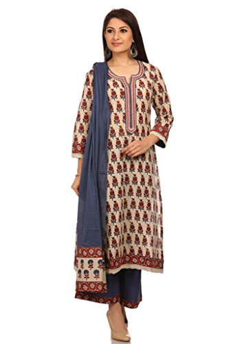 BIBA Women's Cotton Straight Salwar Kameez Dupatta Suit Sets ...