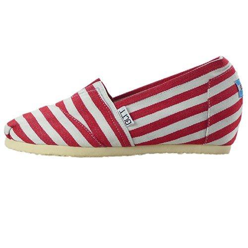 rayas zapatos de alumnas con Zapatos de de plano mayores tela pendiente tela superficial 39 boca rojo y fondo wFI6zqC