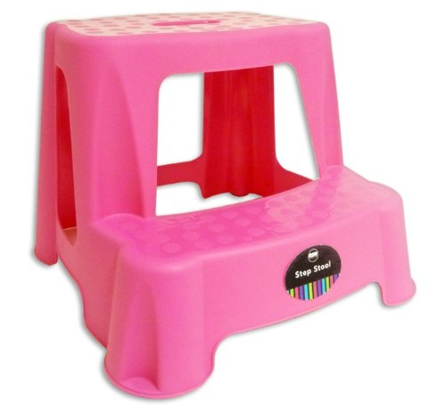 CHILDRENS KIDS 2 STEP UP STOOL TOILET POTTY TRAINING KITCHEN BATHROOM Pink By Impressions
