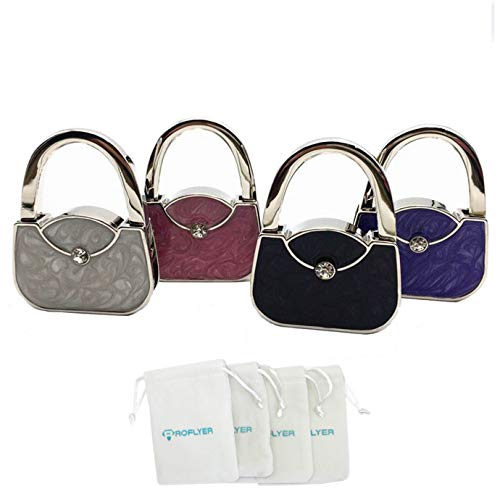 (ROFLYER Handbag Shape Design Metal Foldable Purse Bag Hook Table Hanger,Set of 4)